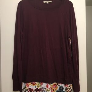 Loft Red Flower Mixed Media Sweater